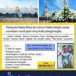 Veja o convite da Paróquia Santa Rosa de Lima e Pe. Sergio Lucas